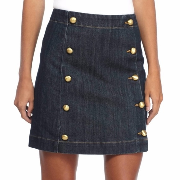 MICHAEL Michael Kors Dresses & Skirts - Michael Kors Gold Button Front Denim Mini Skirt